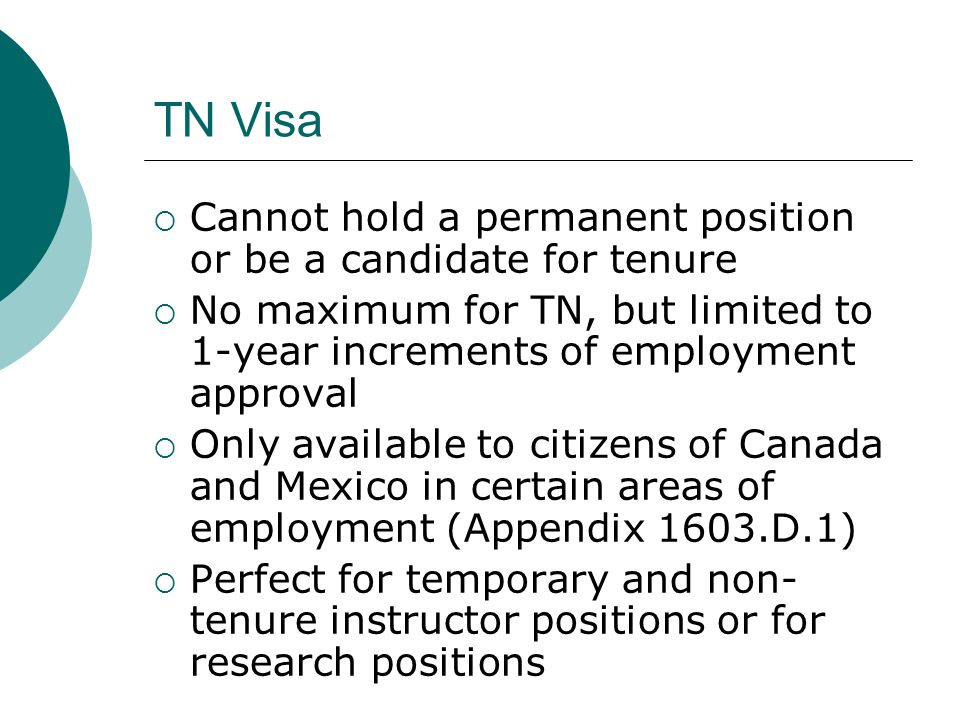 TN Visa Cannot hold a permanent position or be a candidate for tenure
