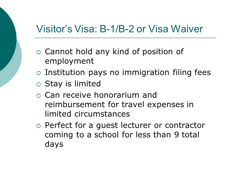 Visitor's Visa: B-1/B-2 or Visa Waiver