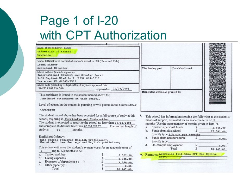 Page 1 of I-20 with CPT Authorization
