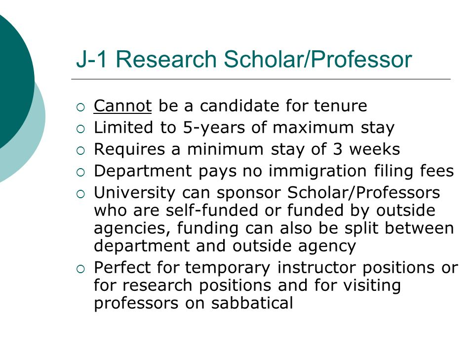 J-1 Research Scholar/Professor