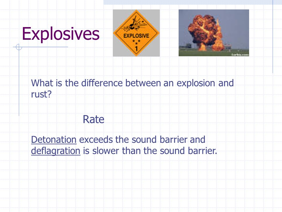 Explosives Rate What is the difference between an explosion and rust