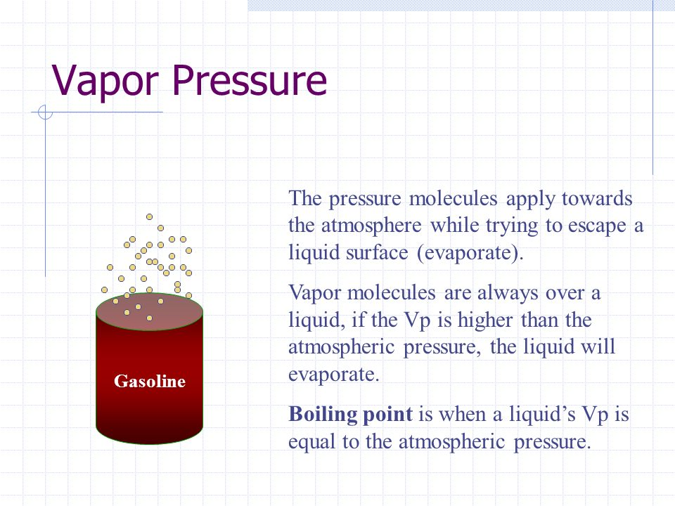 Vapor Pressure The pressure molecules apply towards the atmosphere while trying to escape a liquid surface (evaporate).