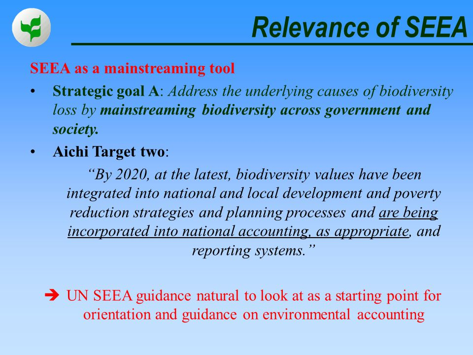 Relevance of SEEA SEEA as a mainstreaming tool