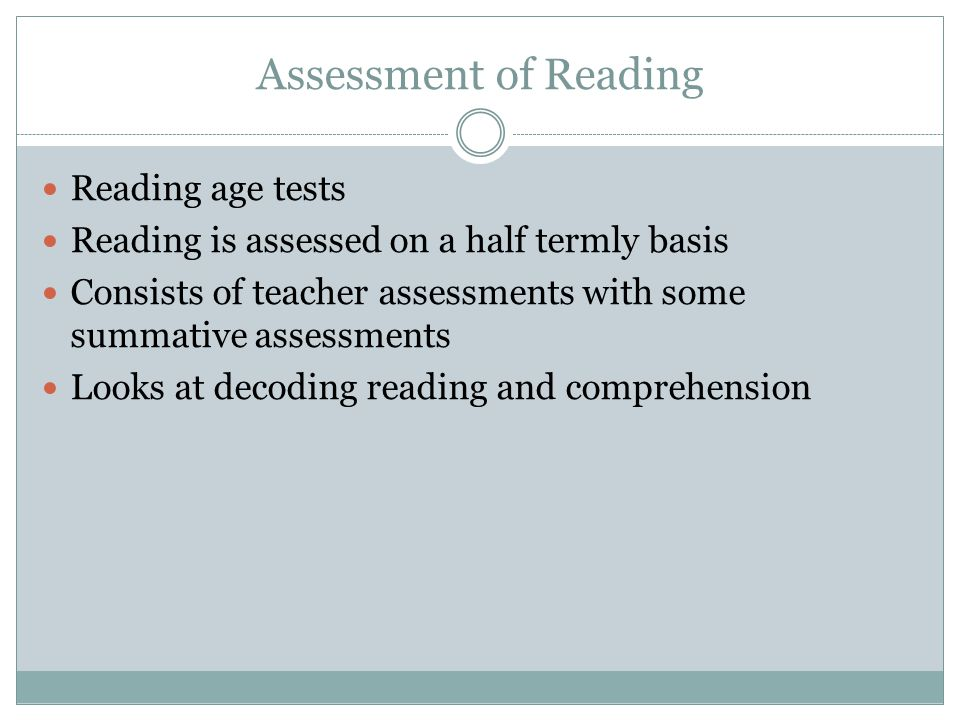Assessment of Reading Reading age tests