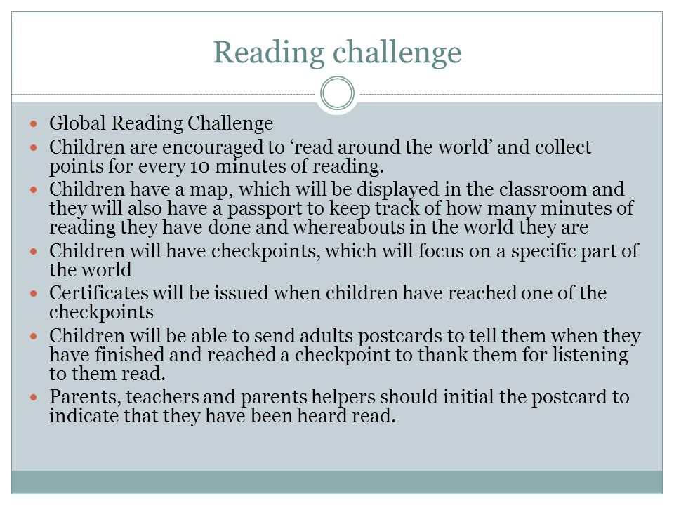 Reading challenge Global Reading Challenge