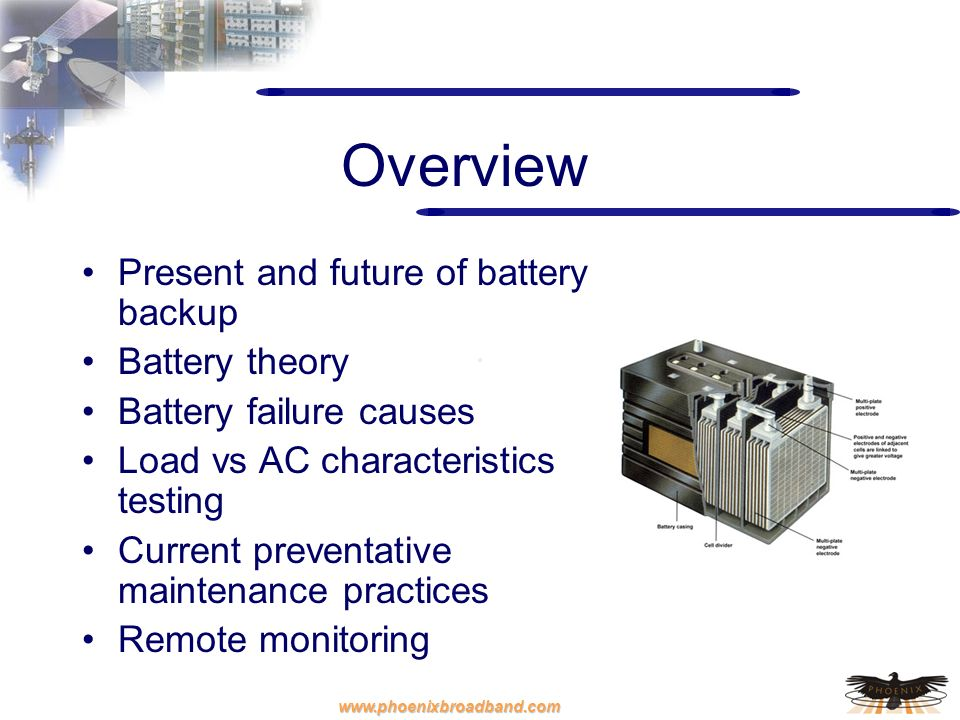Overview Present and future of battery backup Battery theory