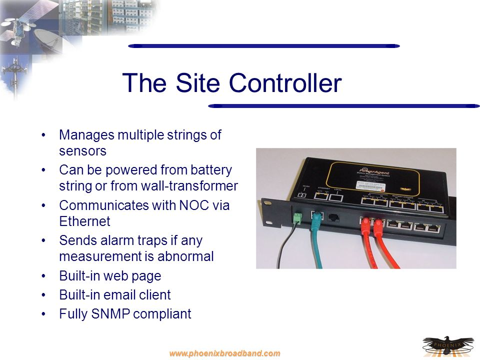 The Site Controller Manages multiple strings of sensors