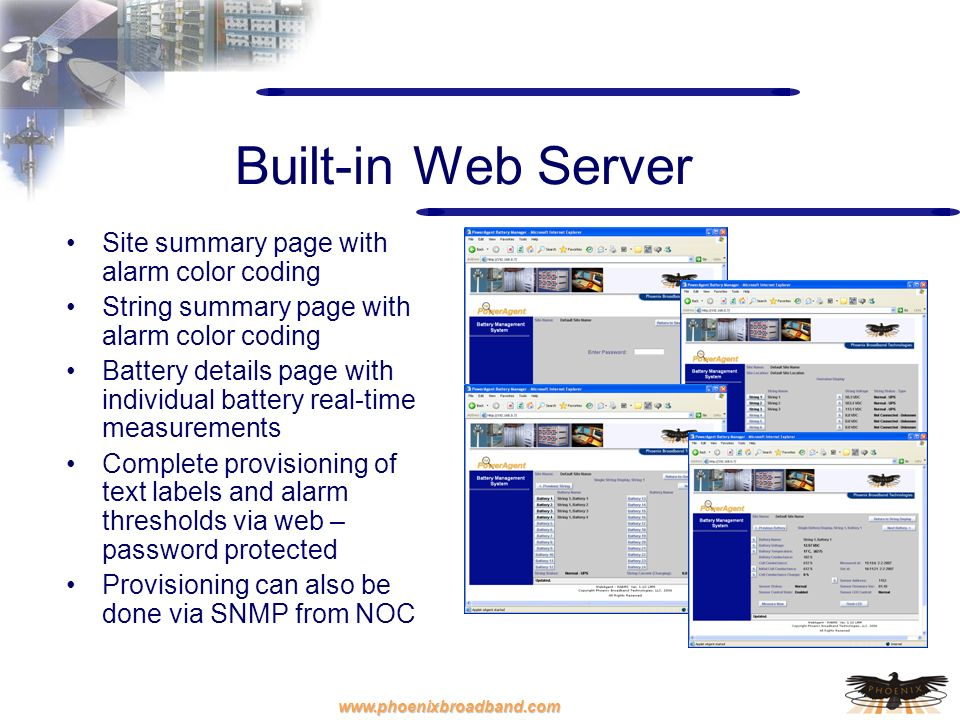 Built-in Web Server Site summary page with alarm color coding