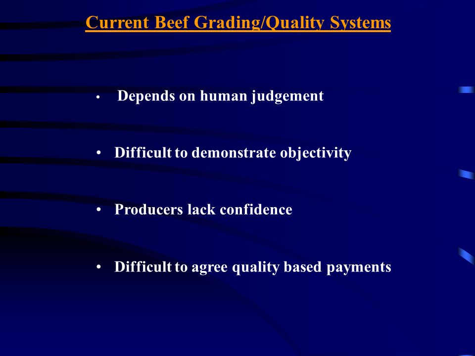 Current Beef Grading/Quality Systems