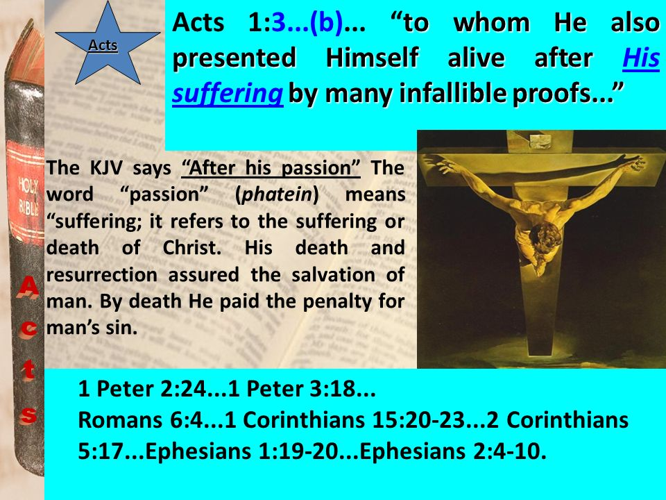 Acts 1:3...(b)... to whom He also presented Himself alive after His suffering by many infallible proofs...
