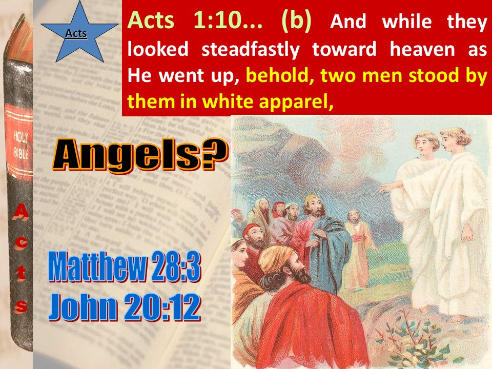 Acts 1:10... (b) And while they looked steadfastly toward heaven as He went up, behold, two men stood by them in white apparel,