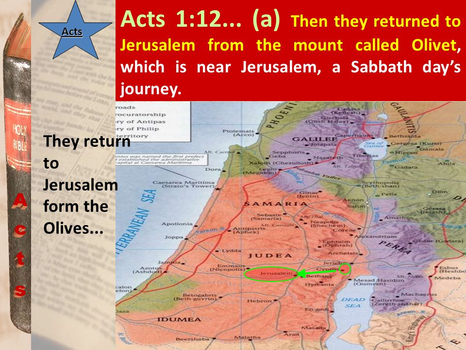 Acts 1:12... (a) Then they returned to Jerusalem from the mount called Olivet, which is near Jerusalem, a Sabbath day's journey.