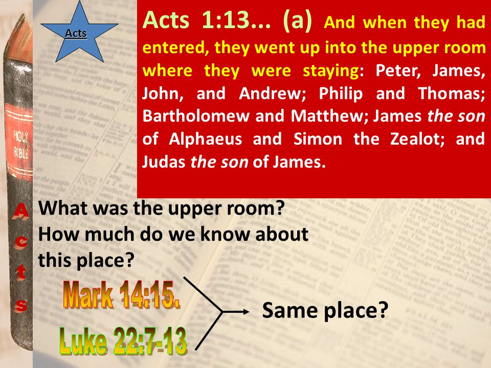 Acts 1:13... (a) And when they had entered, they went up into the upper room where they were staying: Peter, James, John, and Andrew; Philip and Thomas; Bartholomew and Matthew; James the son of Alphaeus and Simon the Zealot; and Judas the son of James.