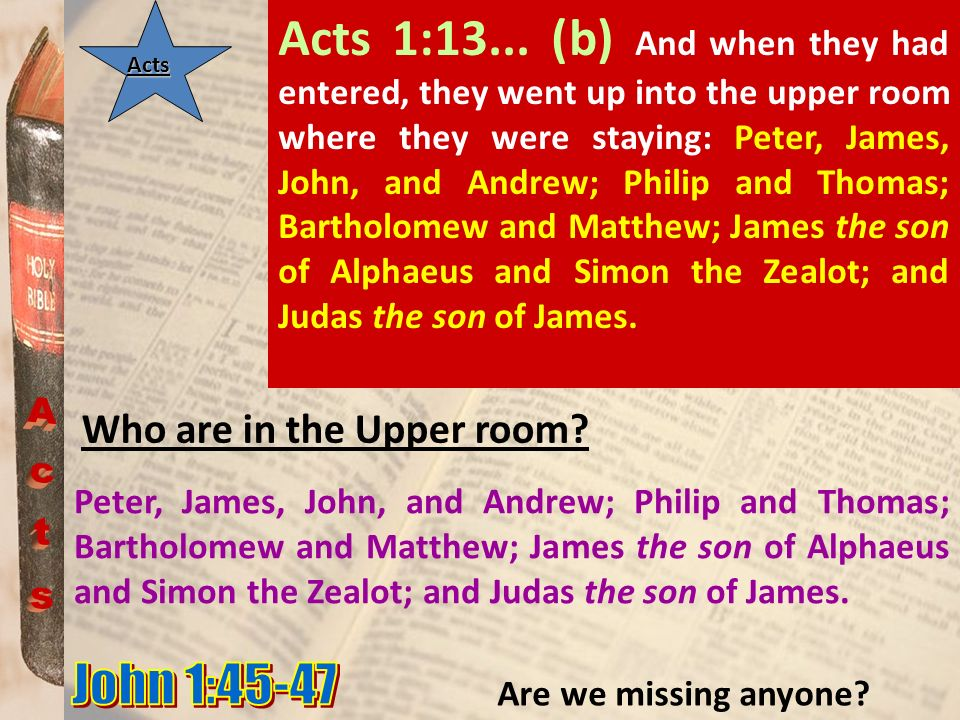 Acts 1:13... (b) And when they had entered, they went up into the upper room where they were staying: Peter, James, John, and Andrew; Philip and Thomas; Bartholomew and Matthew; James the son of Alphaeus and Simon the Zealot; and Judas the son of James.