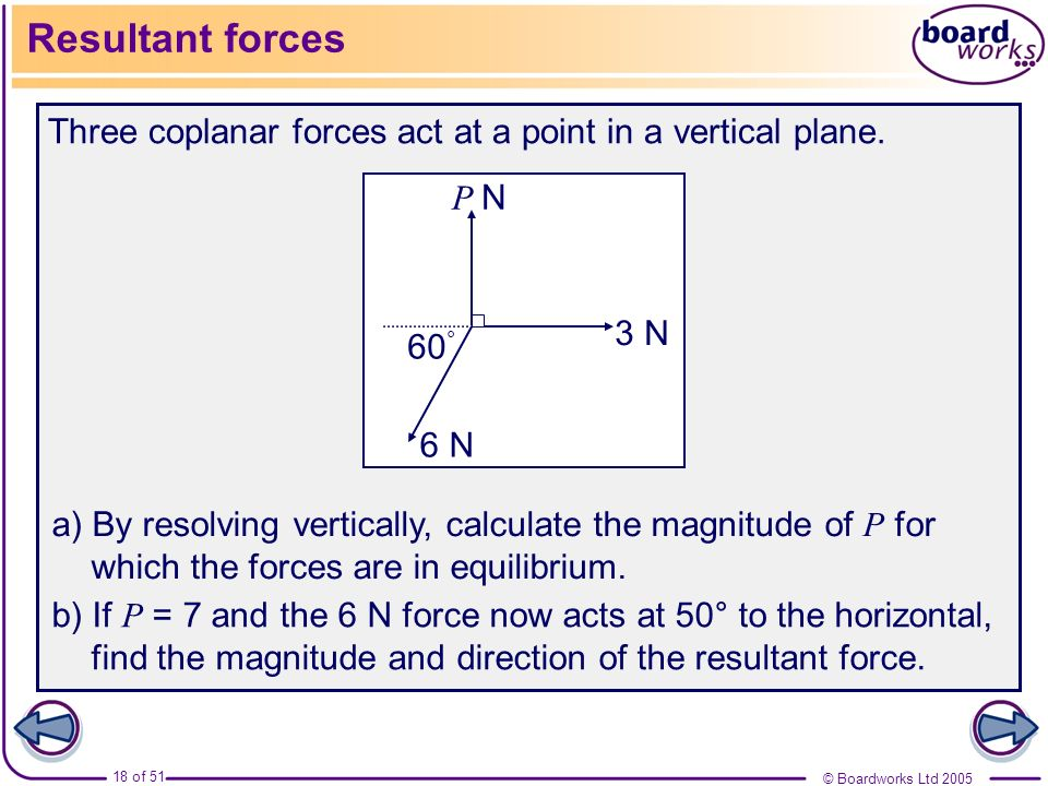 Resultant forces Three coplanar forces act at a point in a vertical plane. 6 N. 3 N. P N. 60°