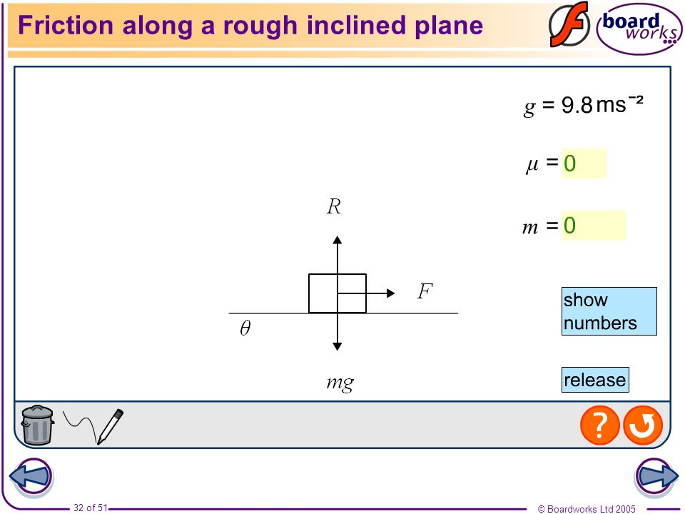 Friction along a rough inclined plane