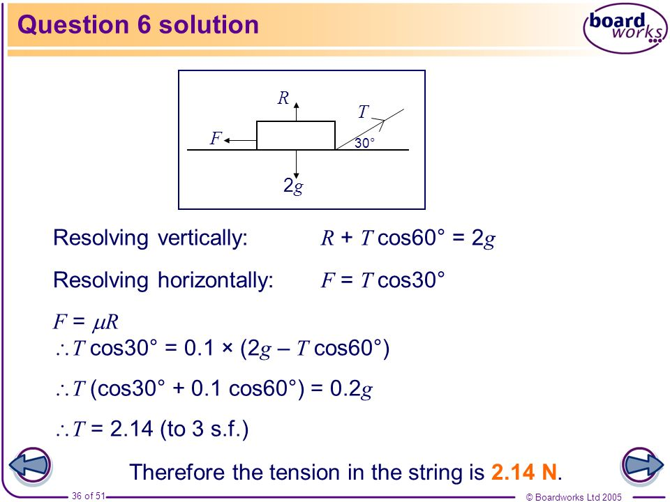 Question 6 solution Resolving vertically: R + T cos60° = 2g