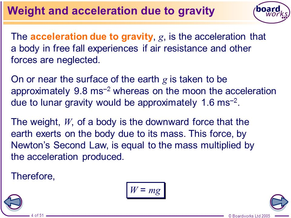 Weight and acceleration due to gravity
