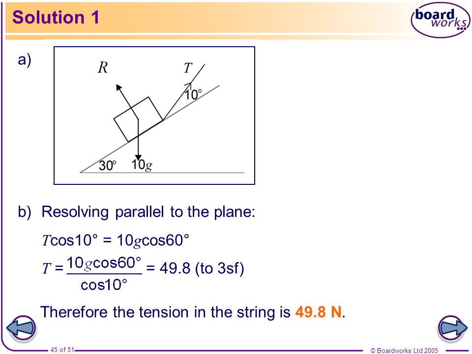 Solution 1 a) Resolving parallel to the plane: Tcos10° = 10gcos60°