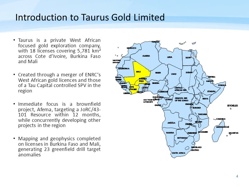 Introduction to Taurus Gold Limited