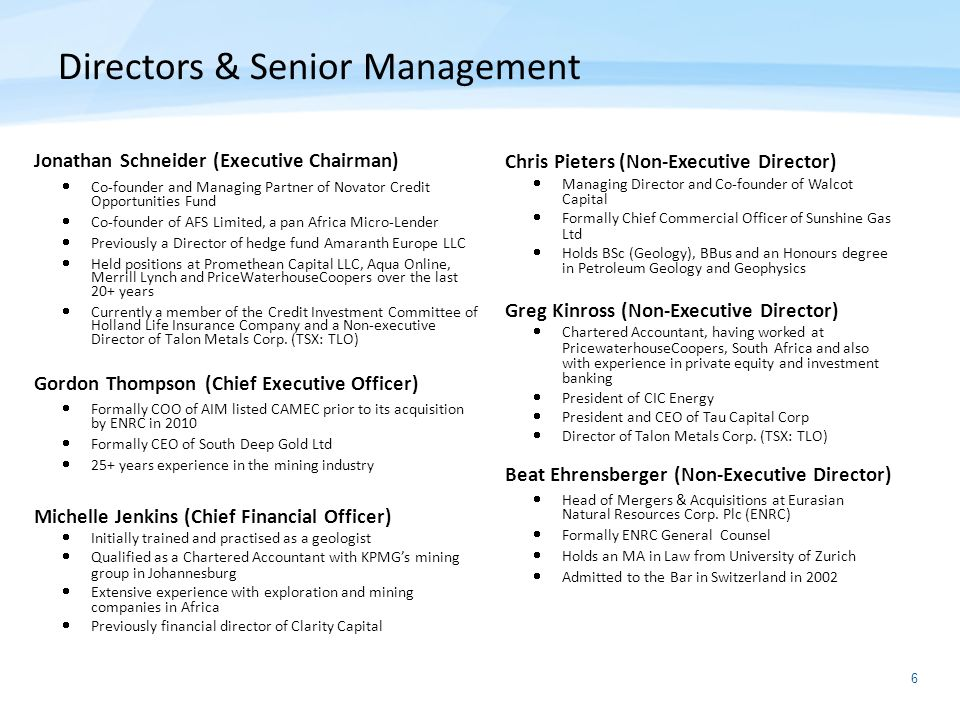 Directors & Senior Management