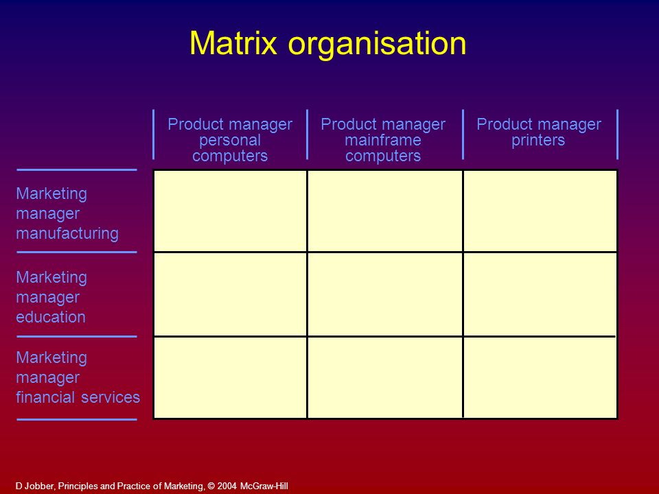 Matrix organisation Product manager personal computers