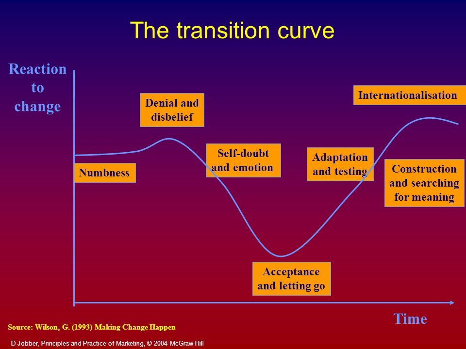 The transition curve Reaction to change Time Internationalisation