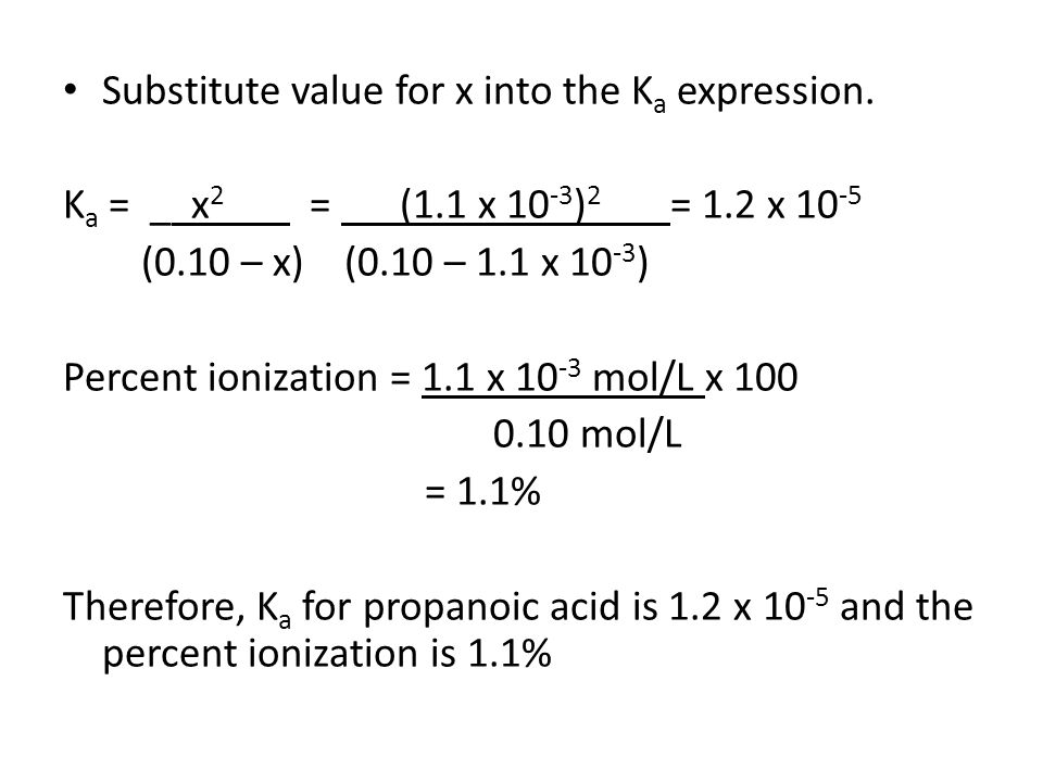 Substitute value for x into the Ka expression.