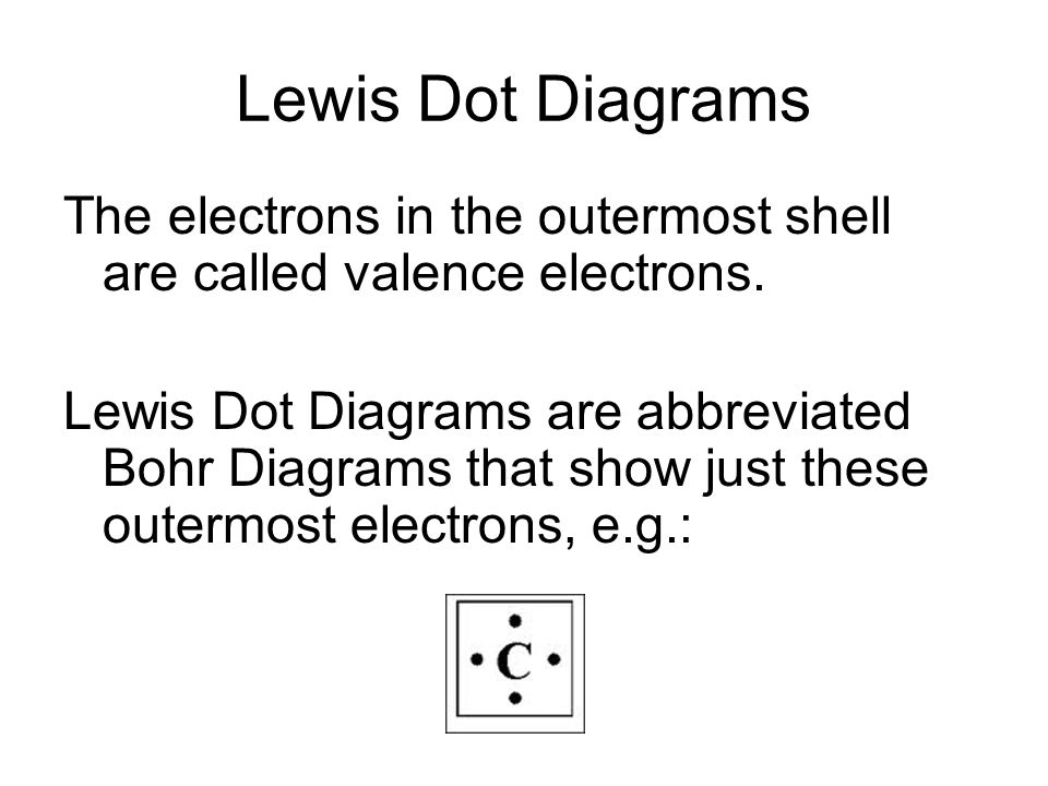 Lewis Dot Diagrams The electrons in the outermost shell are called valence electrons.