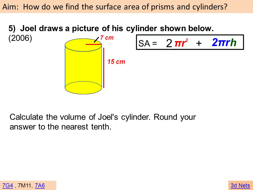 5) Joel draws a picture of his cylinder shown below. (2006)