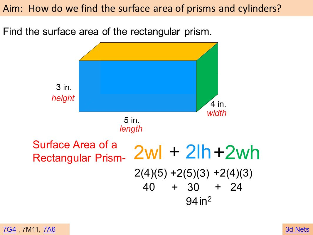 2wl + 2lh +2wh Surface Area of a Rectangular Prism- 2(4)(5) +2(5)(3)