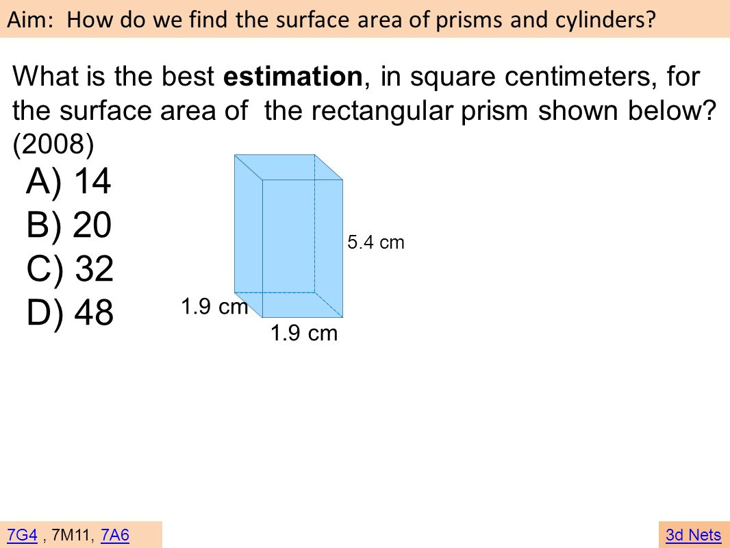 What is the best estimation, in square centimeters, for the surface area of the rectangular prism shown below (2008)