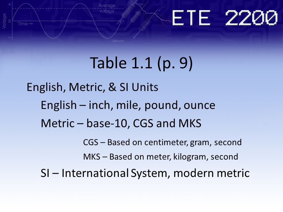 Table 1.1 (p. 9) English, Metric, & SI Units