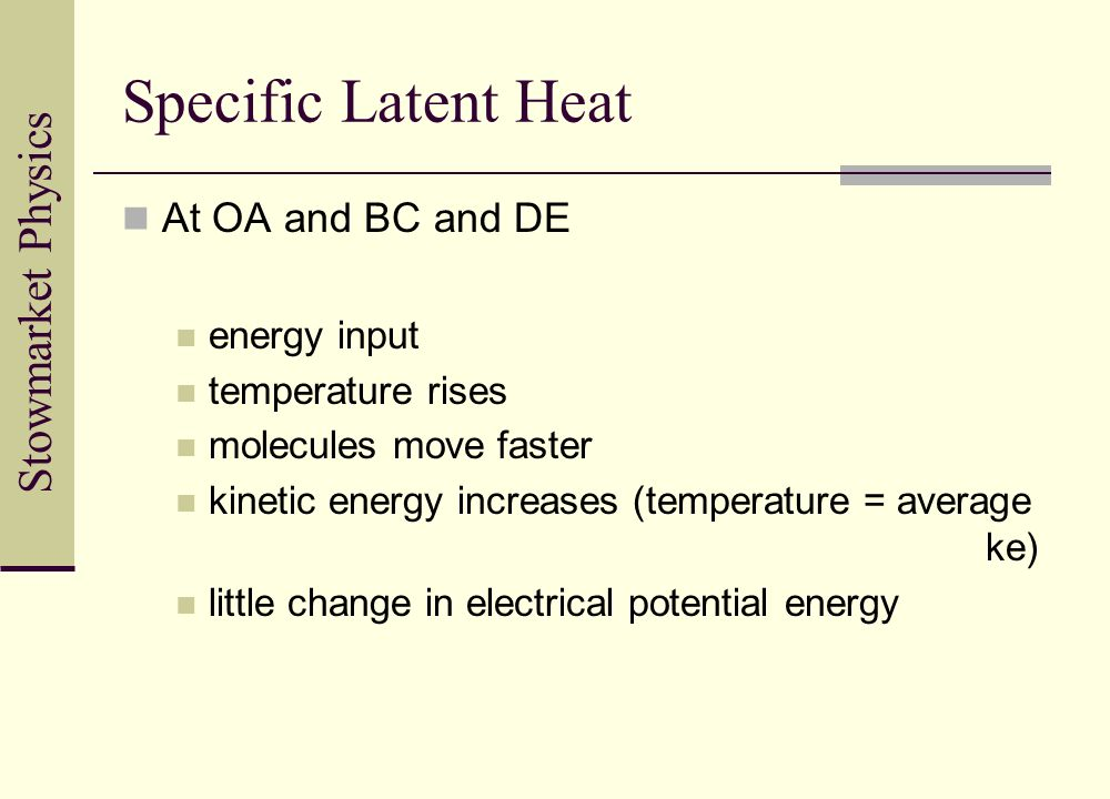 Specific Latent Heat At OA and BC and DE energy input