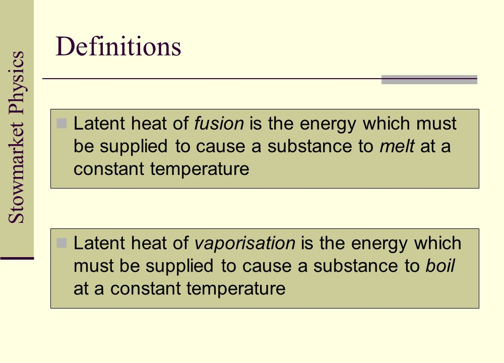 Definitions Latent heat of fusion is the energy which must be supplied to cause a substance to melt at a constant temperature.