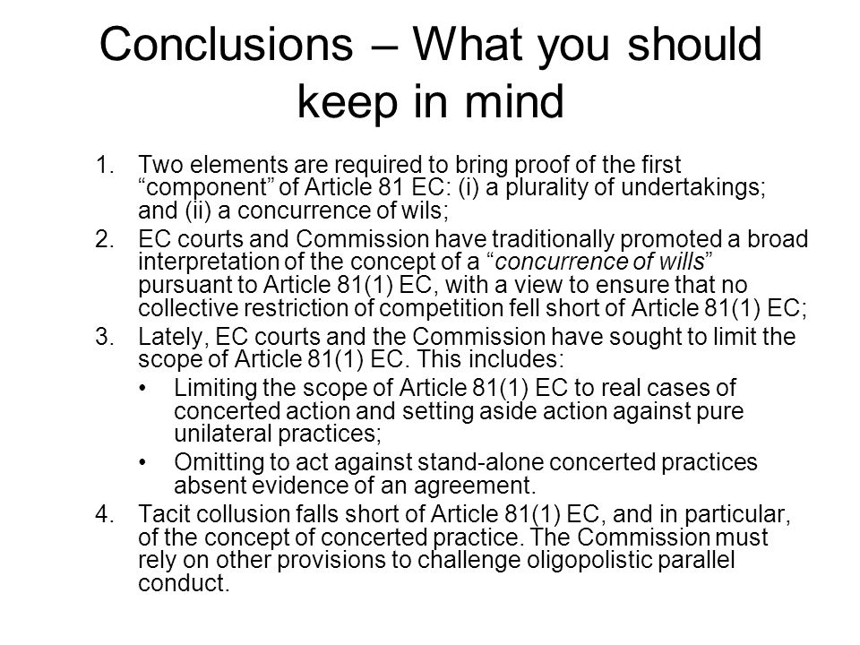 Conclusions – What you should keep in mind