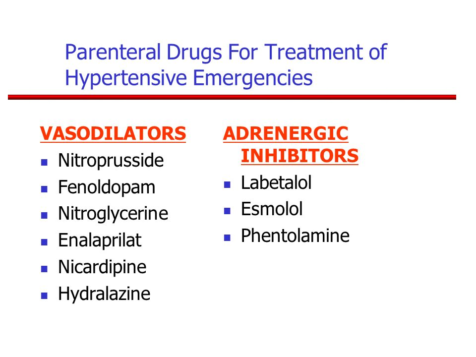 Parenteral Drugs For Treatment of Hypertensive Emergencies