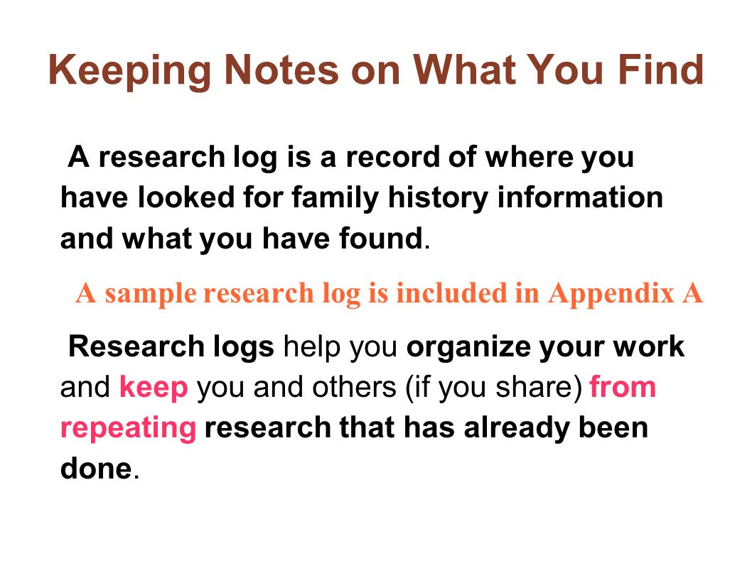 Keeping Notes on What You Find