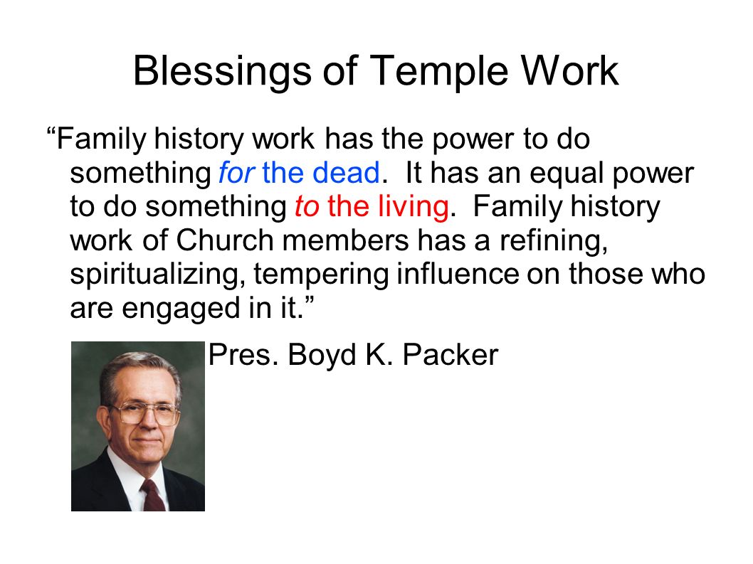 Blessings of Temple Work