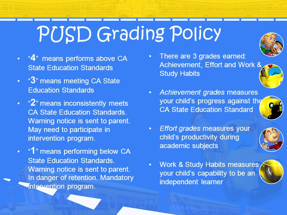 PUSD Grading Policy 4 means performs above CA State Education Standards. 3 means meeting CA State Education Standards.