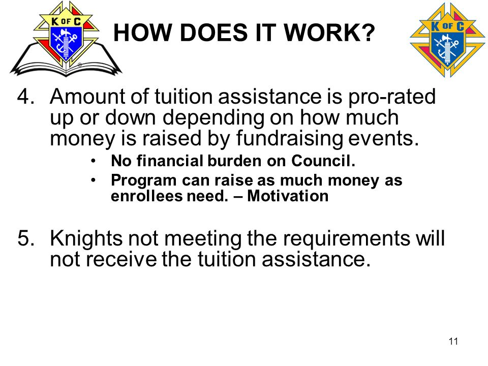 HOW DOES IT WORK Amount of tuition assistance is pro-rated up or down depending on how much money is raised by fundraising events.