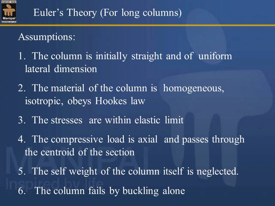 Euler's Theory (For long columns)