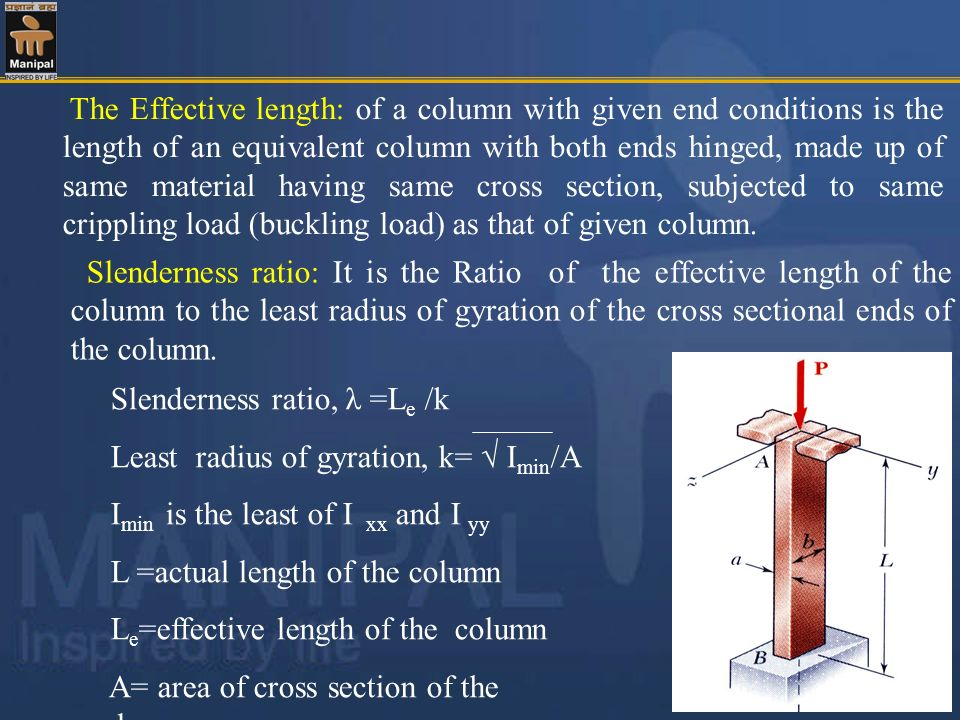 The Effective length: of a column with given end conditions is the length of an equivalent column with both ends hinged, made up of same material having same cross section, subjected to same crippling load (buckling load) as that of given column.