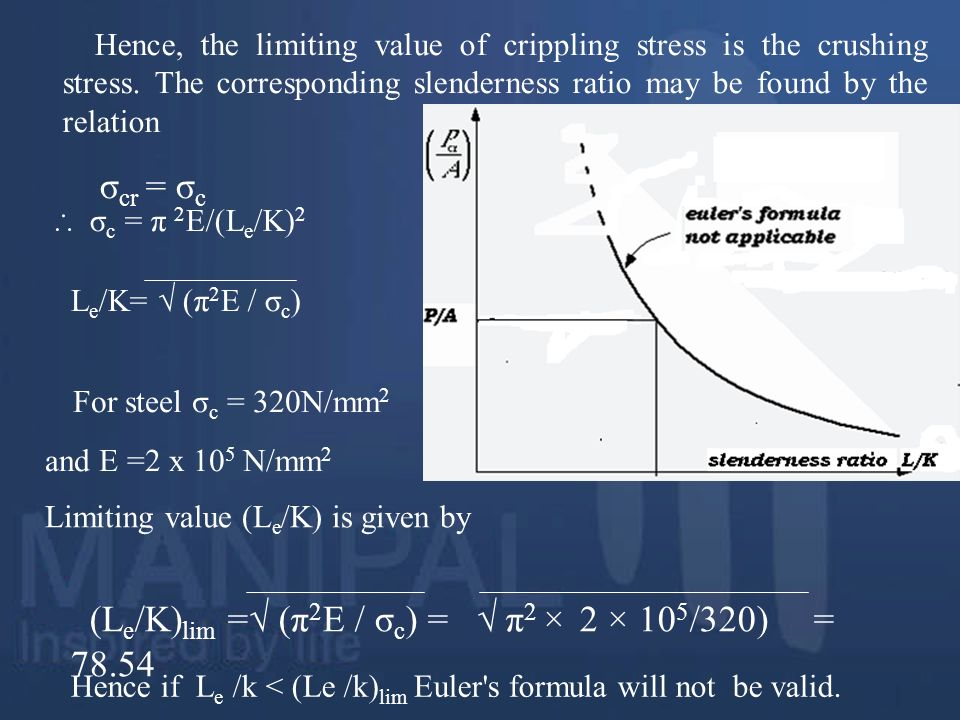 Limiting value (Le/K) is given by