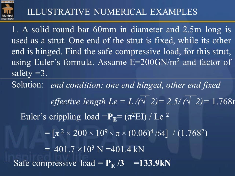 ILLUSTRATIVE NUMERICAL EXAMPLES