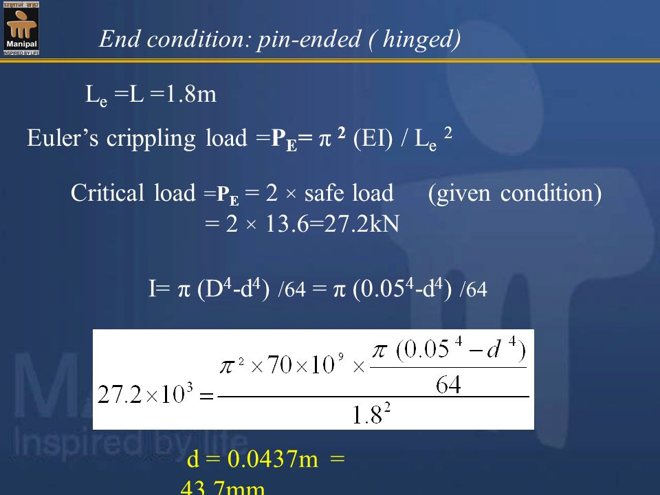 End condition: pin-ended ( hinged)