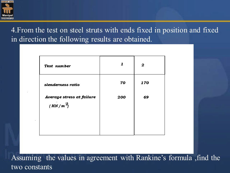 4.From the test on steel struts with ends fixed in position and fixed in direction the following results are obtained.