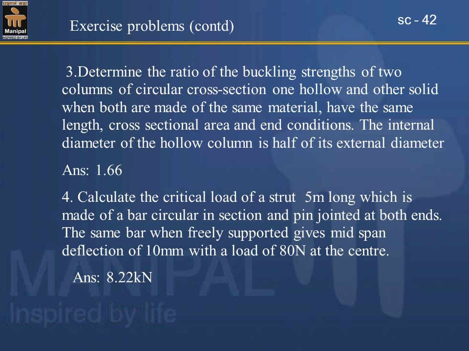 Exercise problems (contd)