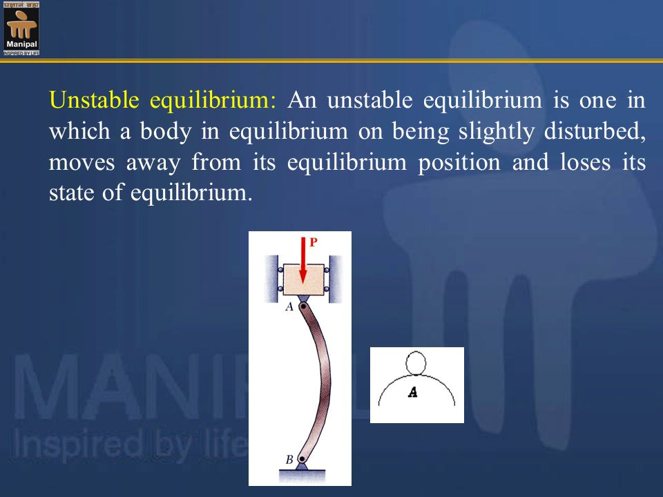 Unstable equilibrium: An unstable equilibrium is one in which a body in equilibrium on being slightly disturbed, moves away from its equilibrium position and loses its state of equilibrium.