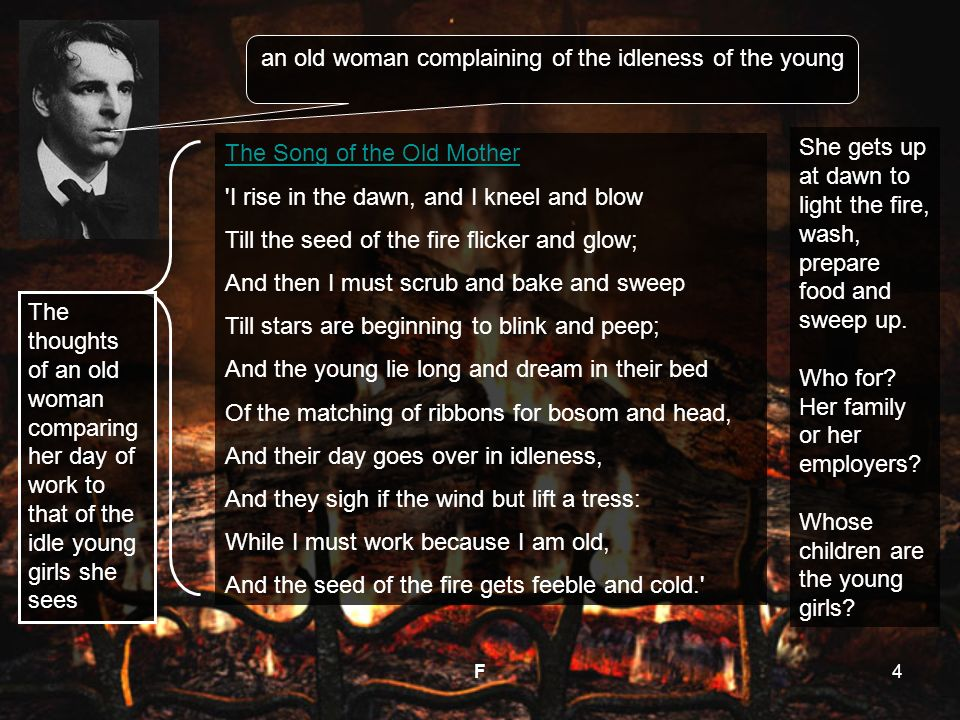 Song Of The Old Mother By W B Yeats F Ppt Download